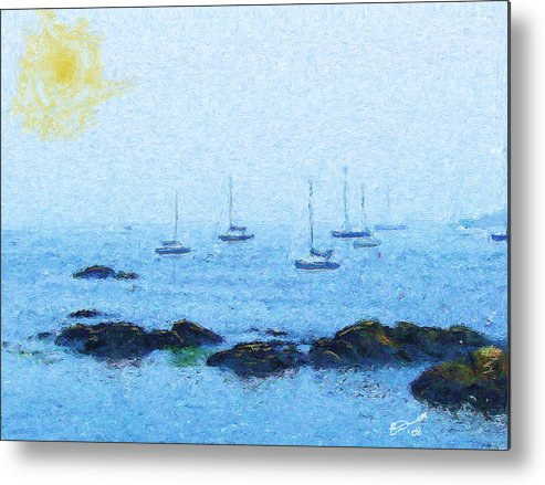 Sail Sailing Harbor Ocean Sea Marblehead Mass Bay Metal Print featuring the painting Attente Pour La Brise by Eddie Durrett