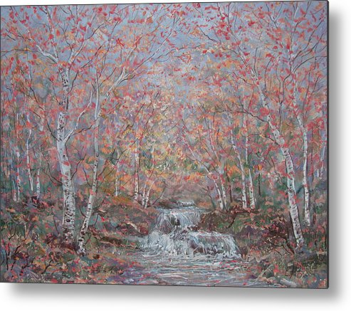 Landscape Metal Print featuring the painting Autumn Birch Trees. by Leonard Holland