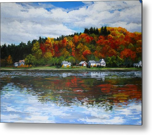 Landscape Metal Print featuring the painting Autumn In Vermont by Sarah Grangier