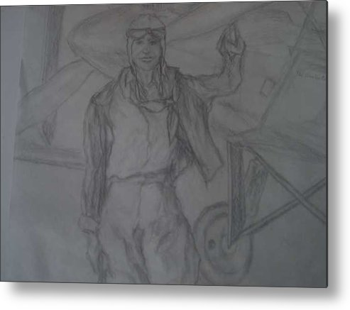 Airplanes Metal Print featuring the drawing Aviatrix by Nancy Caccioppo