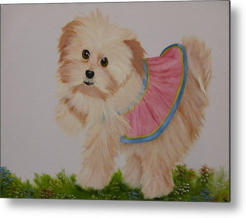 Portrait Metal Print featuring the painting Ballerina Puppy by Joni McPherson