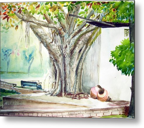 Landscape Metal Print featuring the painting Banyan Tree by Prabhu Dhok