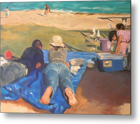 Beach Metal Print featuring the painting Beach Picnic by Merle Keller