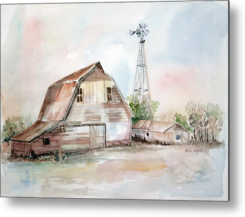 Barn Metal Print featuring the painting Bigelow's Barn by Arline Wagner
