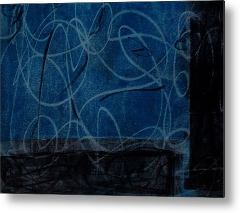 Abstract Metal Print featuring the mixed media Blue And Black Loopy by Susan Grissom