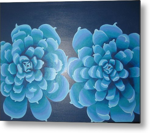 Blue Metal Print featuring the painting Blue Autum by Sarah England-Rocca