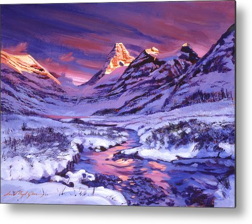 Landscape Metal Print featuring the painting Blue Sunrise by David Lloyd Glover
