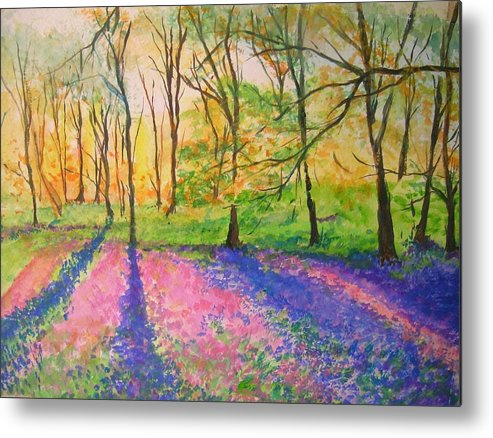 Landscape Metal Print featuring the painting Bluebell Wood by Lizzy Forrester