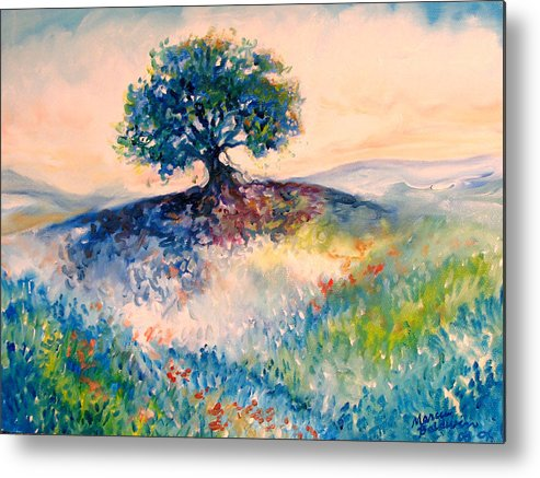 Tree Metal Print featuring the painting Bluebonnet Hill by Marcia Baldwin