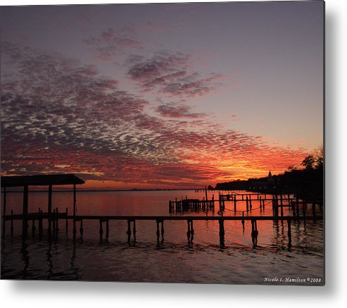 Boathouse Metal Print featuring the photograph Boathouse Sunset by Nicole I Hamilton