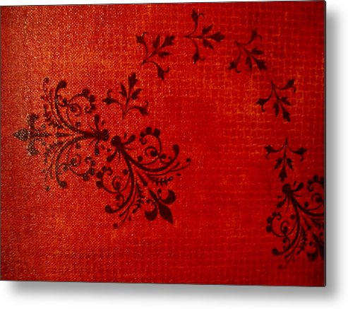 Red Metal Print featuring the painting Boudoir One by Laurette Escobar