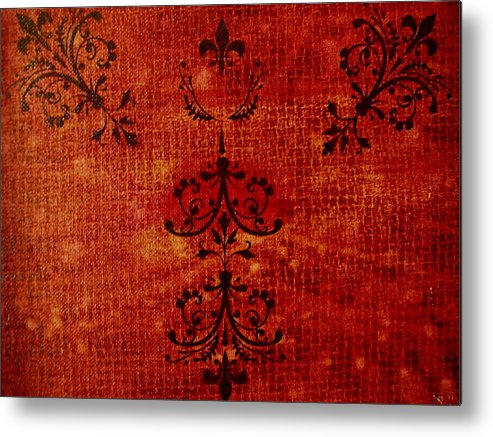Red Metal Print featuring the painting Boudoir Three by Laurette Escobar