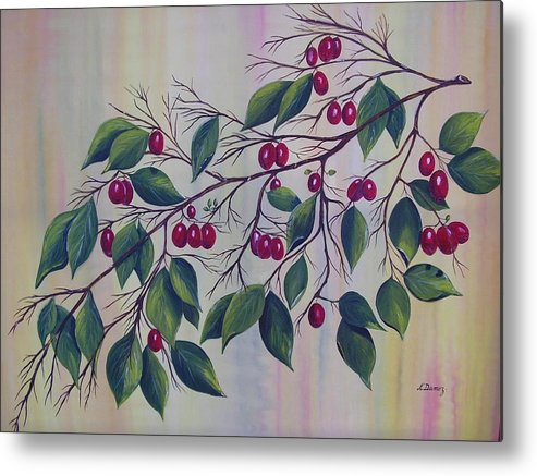 Fruits Metal Print featuring the painting Branch Of Spice by Murielle Hebert
