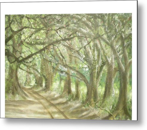 Landscape Metal Print featuring the painting Bridge Of Oaks by Hal Newhouser