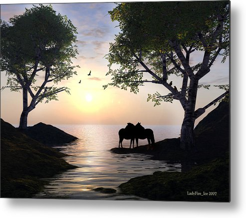Sunset Metal Print featuring the digital art By Sunset Light by Linda Ebarb
