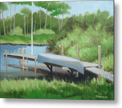 Canoe Metal Print featuring the painting Canoe Dock by Robert Rohrich