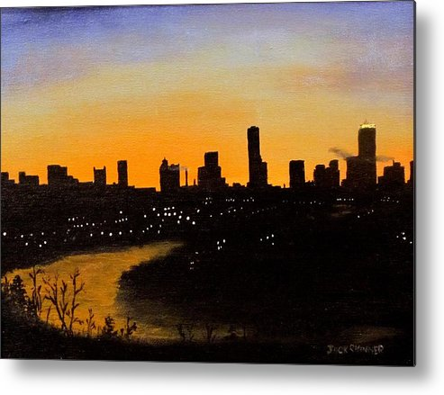Cityscape Metal Print featuring the painting Catherine's Sunrise by Jack Skinner