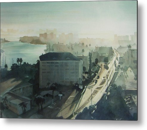 Aqua Metal Print featuring the painting Cold Dawn On Gulf Boulevard by Elizabeth Carr
