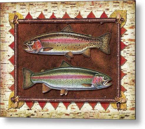 Trout Metal Print featuring the painting Cutthroat And Rainbow Trout Lodge by JQ Licensing