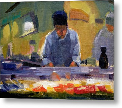 Sushi Metal Print featuring the painting Cutting Sushi by Merle Keller