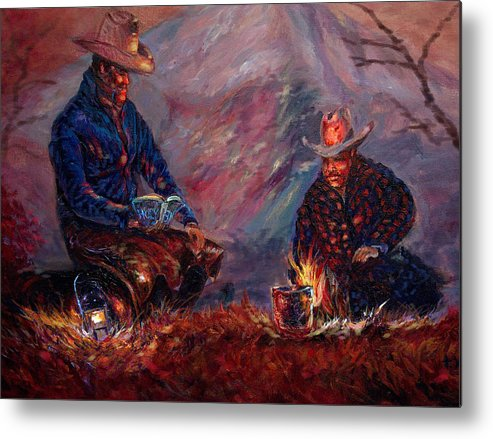 Campfire Metal Print featuring the painting days done II by Tommy Winn