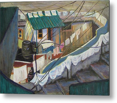 Landscape Metal Print featuring the painting Dhobi by Art Nomad Sandra Hansen