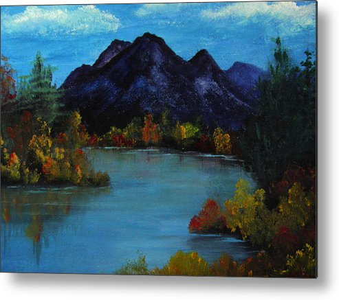 Mountain Metal Print featuring the painting Distant Mountain View by Rhonda Myers