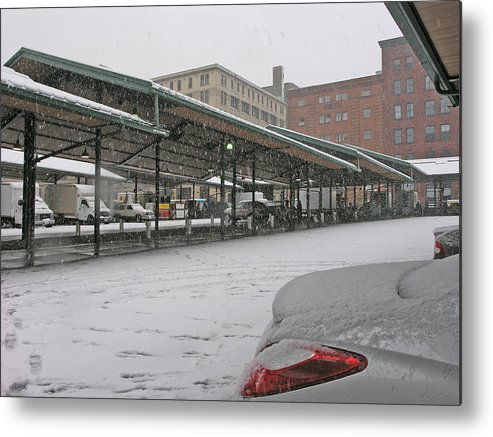 Winter Metal Print featuring the photograph Farmers Market First Snow by Janis Beauchamp