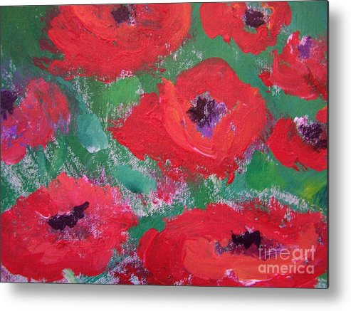 Floral Metal Print featuring the painting Field Of Red by Geraldine Liquidano