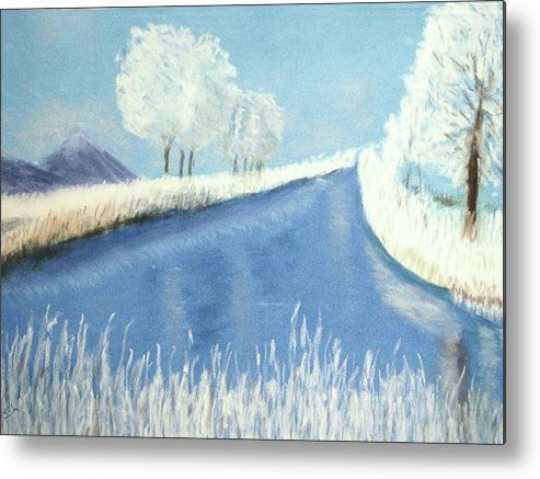 Winter Metal Print featuring the pastel First Frost by Judi Schultze