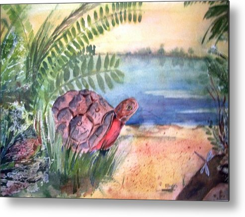 Turtle Metal Print featuring the painting Florida Seacoast by Audrey Bunchkowski