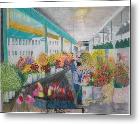 Open Air Street Flower Market Metal Print featuring the painting Flower Market by Hal Newhouser