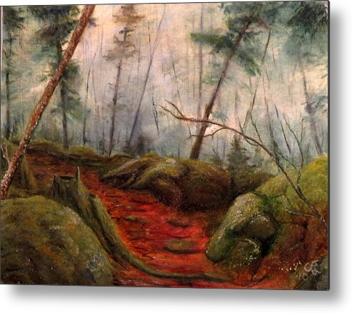 Fog Metal Print featuring the painting Fogy Path by Catfish Lawrence