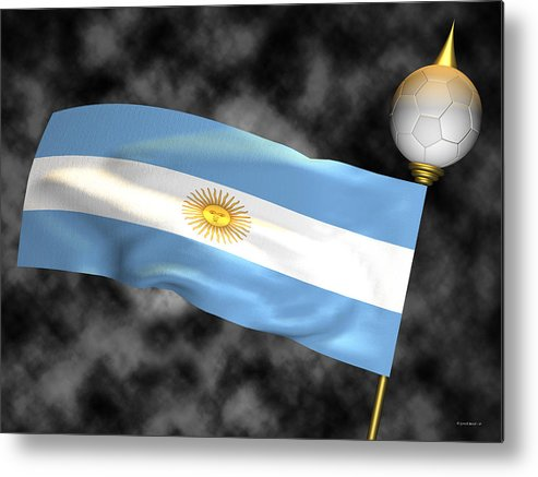 Fifa Metal Print featuring the photograph Football World Cup Cheer Series - Argentina by Ganesh Barad