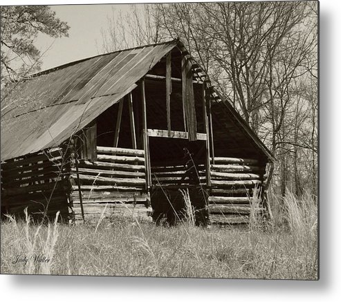 Black And White Metal Print featuring the photograph Forgotten Hay Barn by Judy Waller