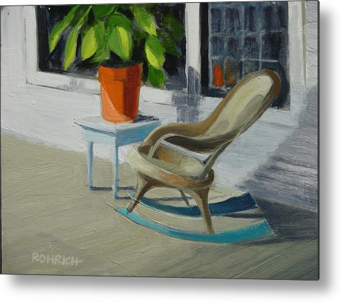 Wicker Metal Print featuring the painting Front Porch Memories by Robert Rohrich