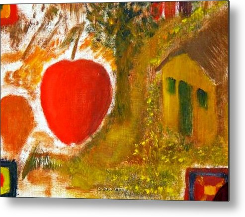 Abstract Apple Adam Ave Metal Print featuring the painting Garden Of Eden by R B