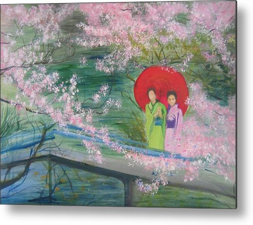 Landscape Metal Print featuring the painting Geishas And Cherry Blossom by Lizzy Forrester