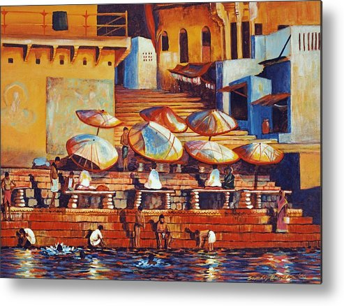 Realist Metal Print featuring the painting Golden Ganges by Art Nomad Sandra Hansen