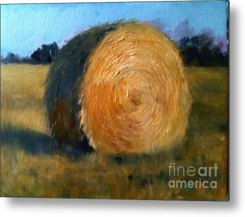 Country Metal Print featuring the painting Hay Bale by Jason Felkner