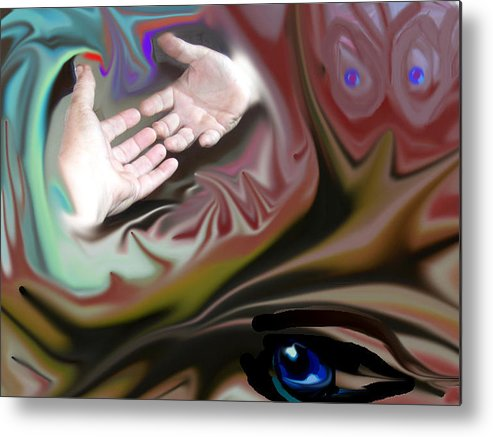 Hands Metal Print featuring the digital art Helping Hands Abstract by Cathy Kaiser