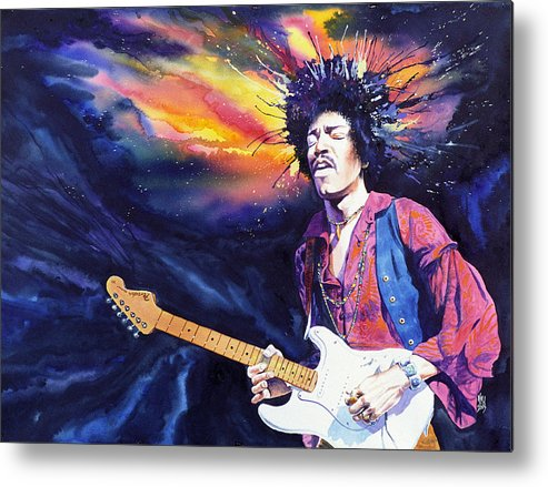 Jimi Hendrix Metal Print featuring the painting Hendrix by Ken Meyer