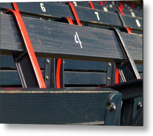 Red Sox Metal Print featuring the photograph Historical Wood Seating At Boston Fenway Park by Juergen Roth