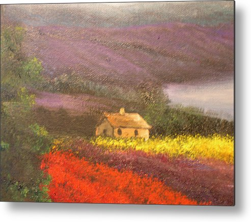 Connie Tom Metal Print featuring the painting Home In The Hills Of Tuscany by Connie Tom
