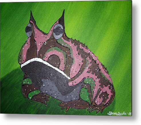 Amazon Horned Frog Metal Print featuring the painting Horny by Sharon Supplee