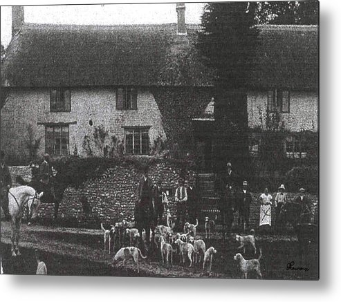 Old Photo Black And White Classic Saskatchewan Pioneers History Hunting Hounds Dogs Metal Print featuring the photograph Hunting With Hounds by Andrea Lawrence