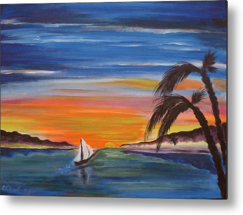 Sunset Metal Print featuring the painting Island Sunset by Colin O neill