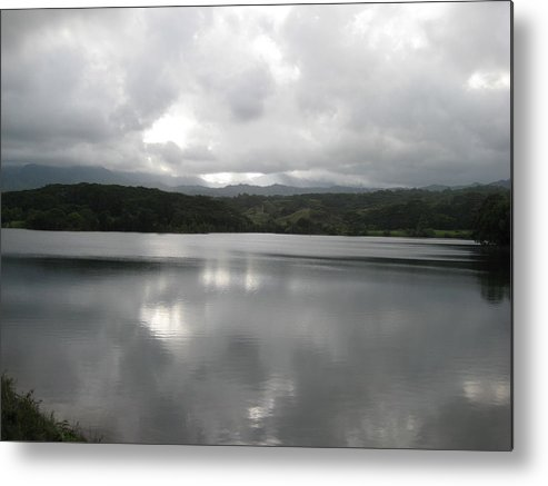 Landscape Of Water At Sunset Metal Print featuring the photograph Lake Stillness by Ileana Carreno