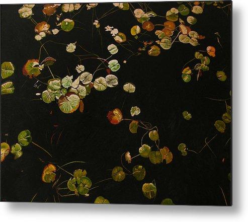Lilypad Metal Print featuring the painting Lake Washington Lily Pad 12 by Thu Nguyen