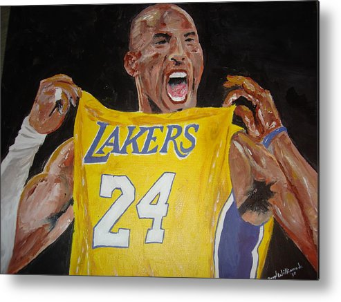 Kobe Bryant Metal Print featuring the painting Lakers 24 by Daryl Williams Jr
